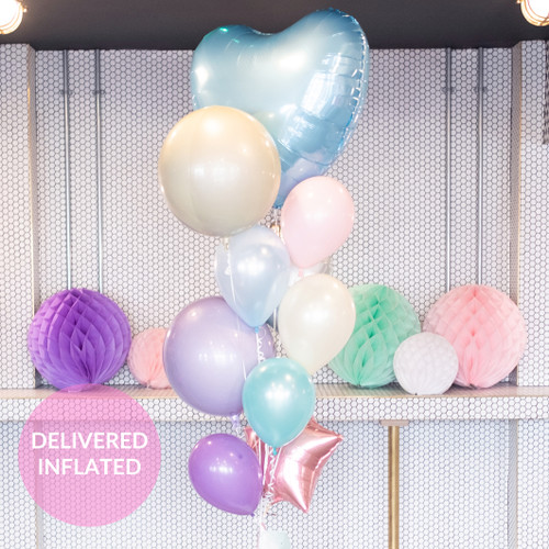 Beautiful pastel birthday bunch of balloons inflated with helium and delivered direct to you for a gift or party decor