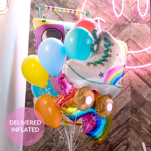 Retro birthday party balloons in a colourful rainbow mix and delivered inflated with helium