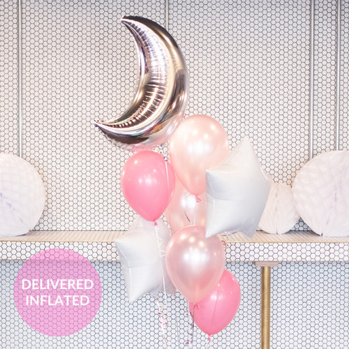 New Baby Moon and Stars Pink Balloon Collection for Baby Shower and Colourful Celebrations