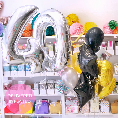 Silver Gold and Black Birthday Number Premium Balloon Collection delivered inflated