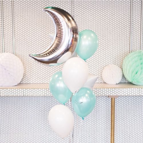 New Baby Moon and Stars Mint Green Balloon Collection for Baby Shower, Birthday Parties and Celebrations