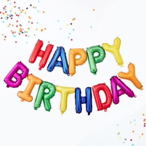 Rainbow Happy Birthday letter balloon air-fill kit