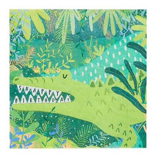 Crocodile jungle themed paper napkins