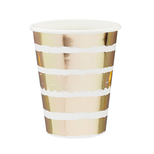 Gold and white striped party paper cups
