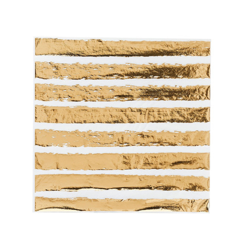 Gold and white striped party paper napkins