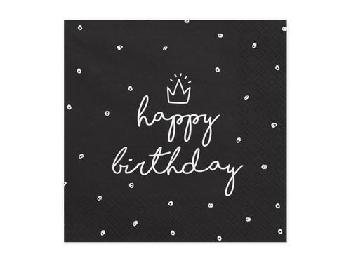 Black Happy Birthday Polka Dot Napkins
