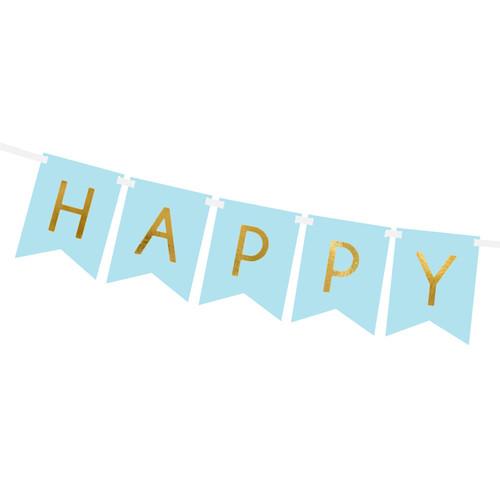 Pastel blue happy birthday party bunting decoration