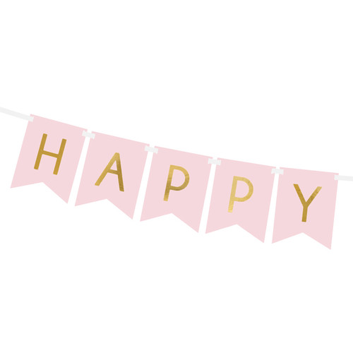 Pastel pink happy birthday party bunting decoration