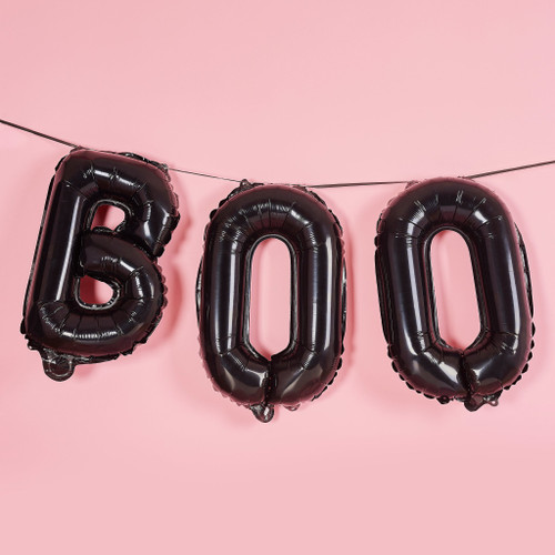 Black BOO letter balloons for Halloween party decor