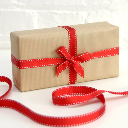 Red Stitched Edge Ribbon