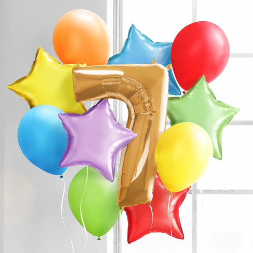 Rainbow Birthday Morning Surprise Balloon Collection inflated with helium and delivered to your door