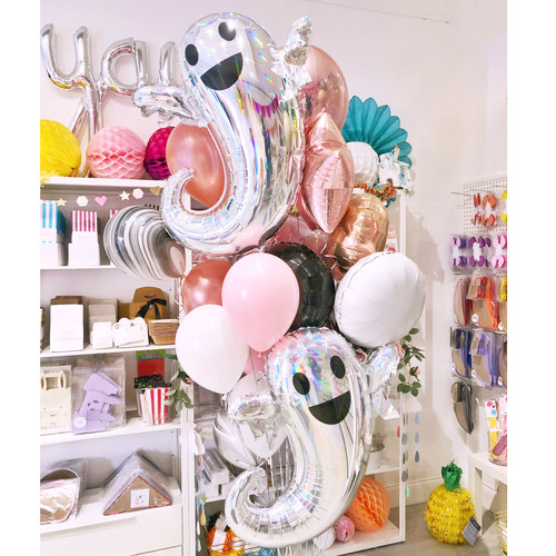 Rose Gold Halloween Ghost Balloon Collection delivered inflated to your door