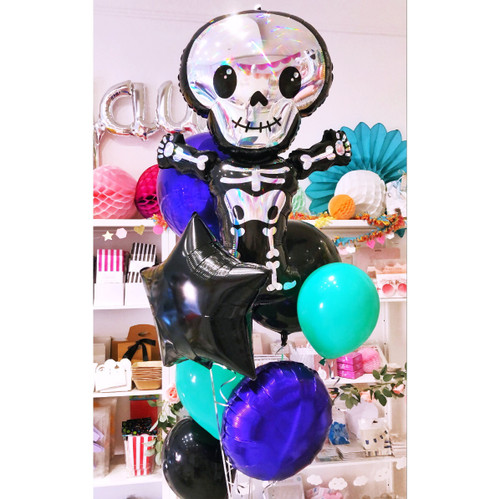Black Halloween Skeleton Balloons delivered inflated to your door