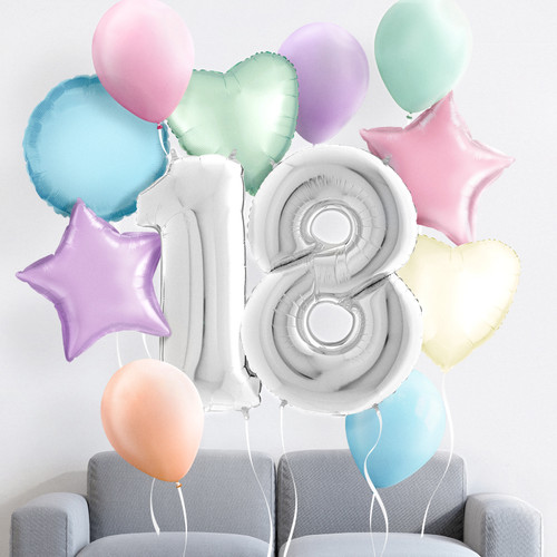Pastel Birthday Morning Surprise helium balloon collection delivered to you
