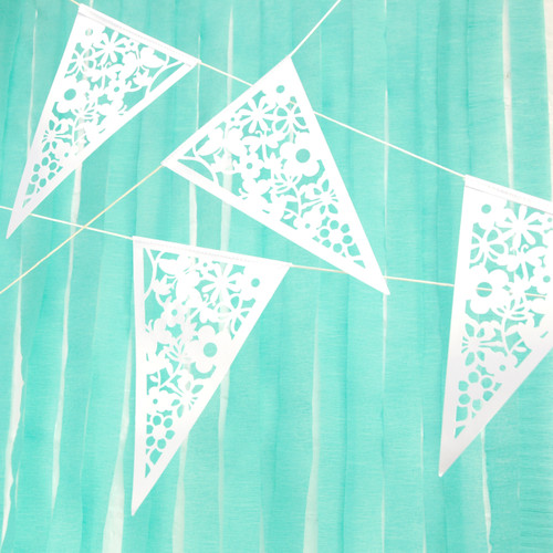White Floral Bunting Party Decoration for Chic Birthdays, Hen Parties, Baby Showers or Weddings