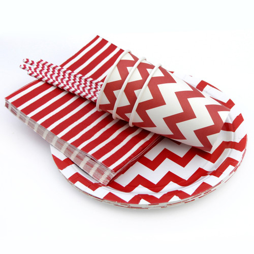 Red Chevron Party Tableware Set
