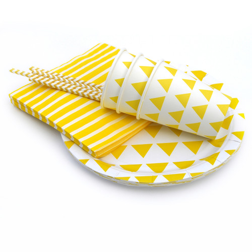 Yellow Triangle Party Tableware Set