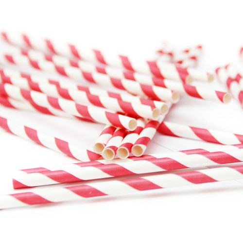 Red Stripe Paper Party Straws for Christmas, Birthday Parties and special occasions