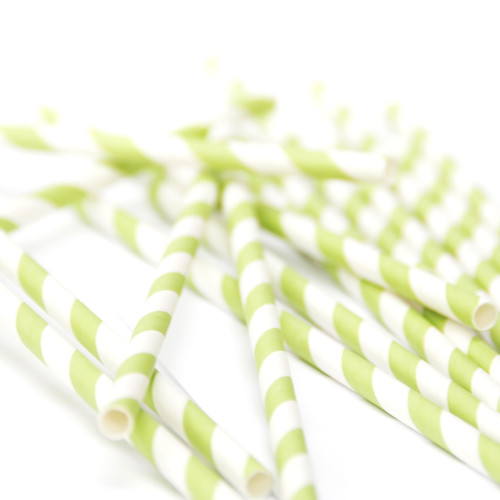 Green Stripe Paper Party Straws