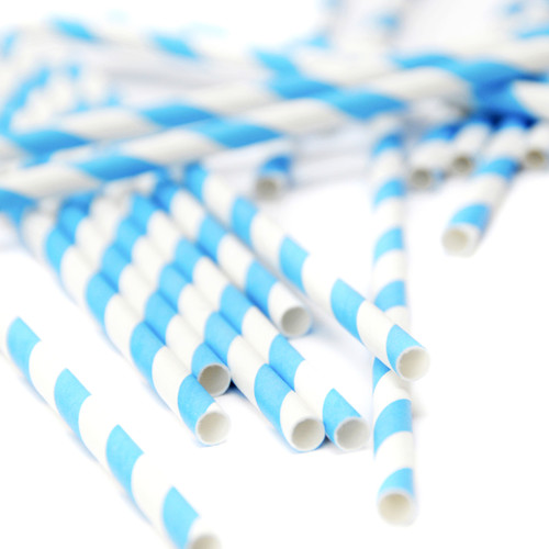 Blue Stripe Paper Party Straws