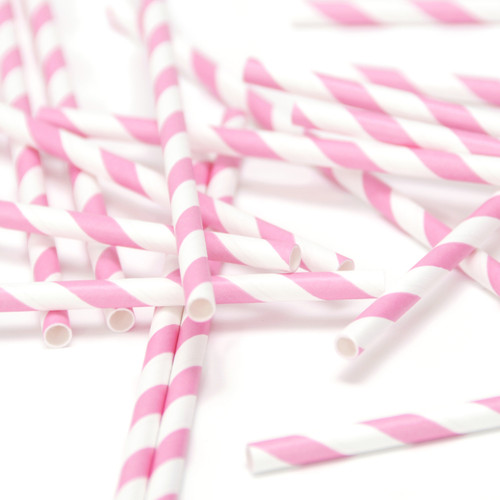 Pink Stripe Paper Party Straws