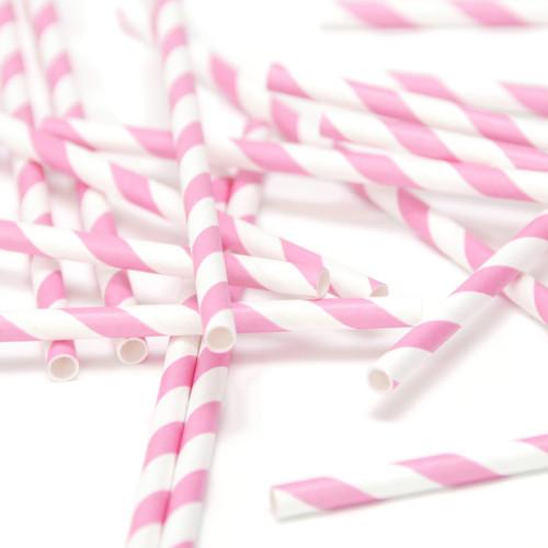 Pink Stripe Paper Party Straws