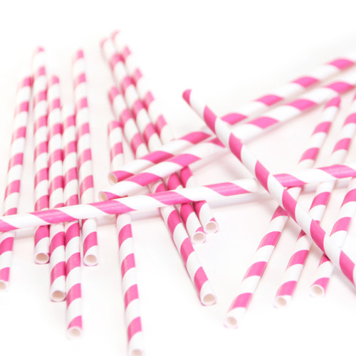 Dark Pink Stripe Paper Party Straws