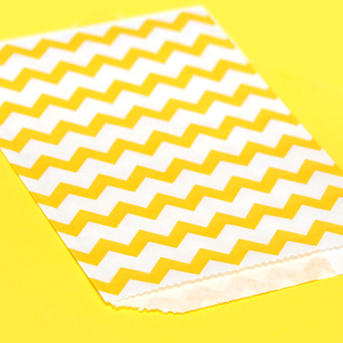 Yellow Chevron Print Paper Party Bags