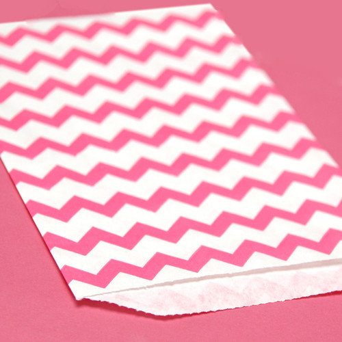 Pink Chevron Print Paper Party Bags