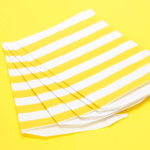 Yellow Stripe Paper Party Bags