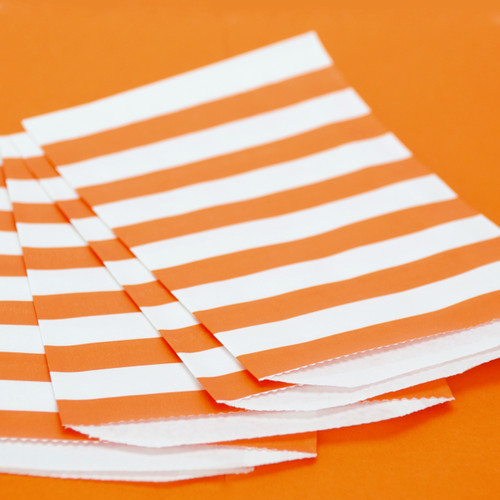 Orange Stripe Paper Party Bags