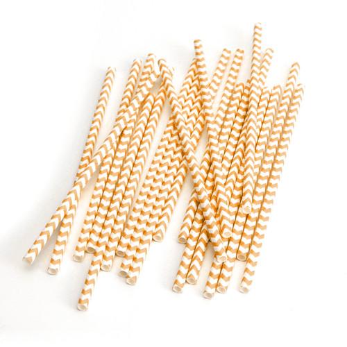 Modern Orange Chevron Print Paper Party Straws