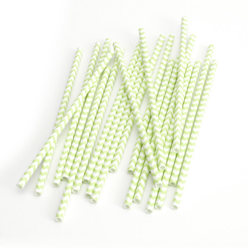 Modern Green Chevron Print Paper Party Straws