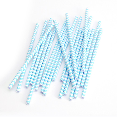 Modern Blue Chevron Print Paper Party Straws