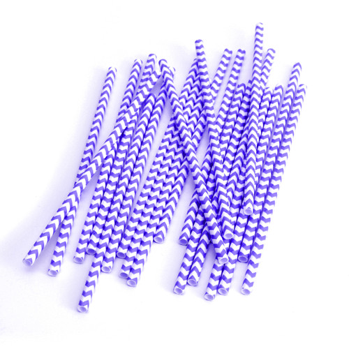 Modern Purple Chevron Print Paper Party Straws