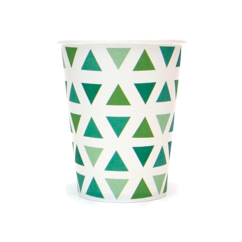 Green Triangle Paper Cups