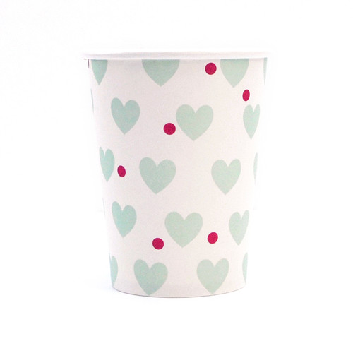 Mint Heart Paper Cups