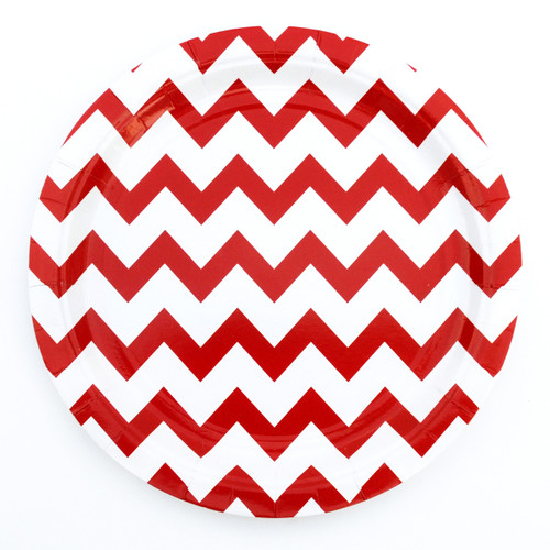 Red Chevron Paper Plates