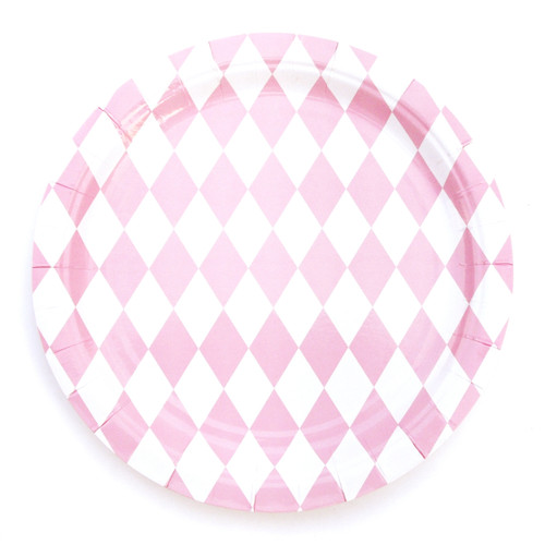 Pink diamond print party paper plates for birthday parties, tea parties, hen parties and baby showers