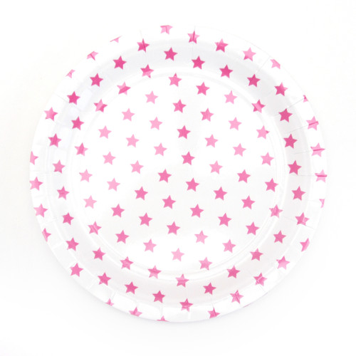 Hot Pink Star Paper Plates