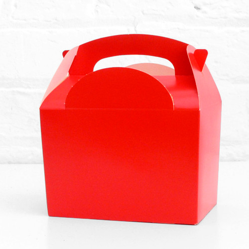 Red food treat box for birthday party snacks, picnics, goodie bags, gifts and street food.