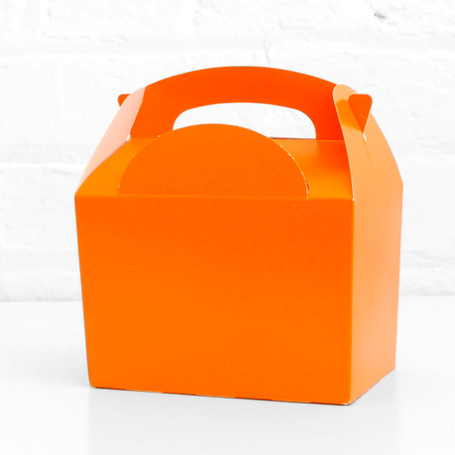 Orange food treat box for birthday party snacks, picnics, goodie bags, gifts and street food.