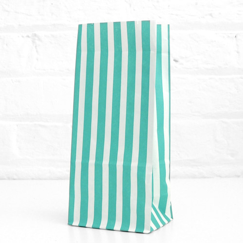 Tall Green Striped Party Bags for birthday party favours, gifts, weddings, sweets tables and dessert buffets