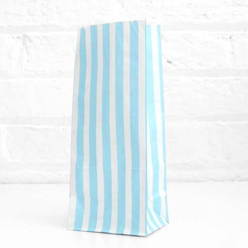 Tall Light Blue Striped Party Bags for birthday party favours, gifts, weddings, sweets tables and dessert buffets