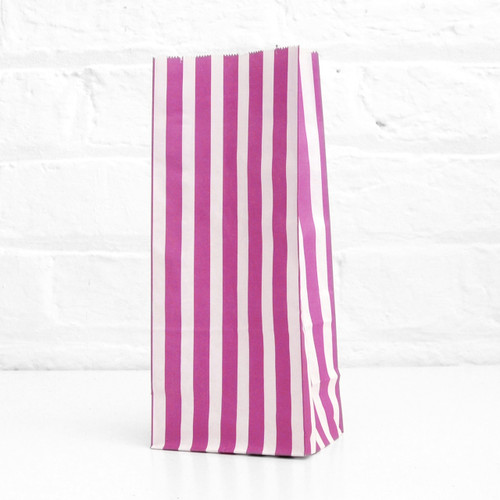 Tall Purple Striped Party Bags for birthday party favours, gifts, weddings, sweets tables and dessert buffets