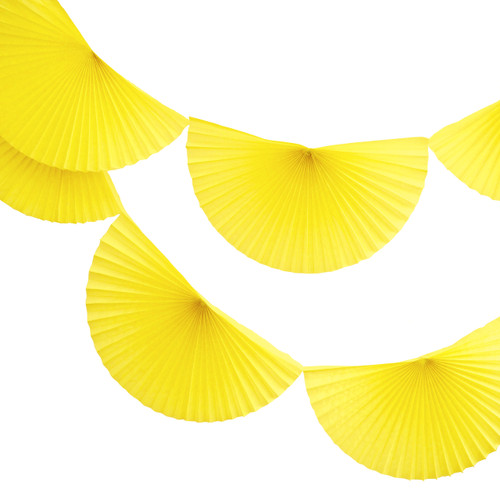 Yellow Paper Fan Garland Bunting Decoration for Birthday Parties, Weddings, Baby Showers and Hen Dos