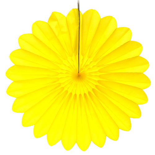 Yellow Deluxe Tissue Paper Fan Decoration for Birthday Parties, Weddings, Baby Showers and Hen Dos