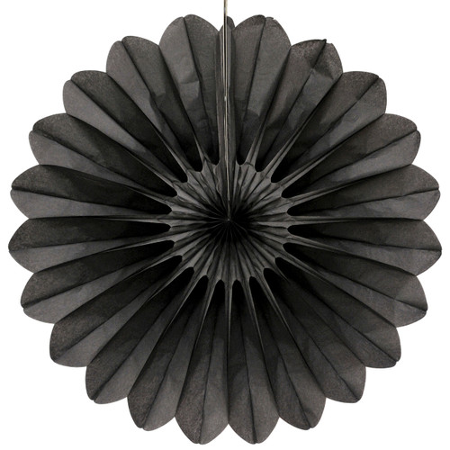 Black Deluxe Tissue Paper Fan Decoration for Birthday Parties, Weddings, Baby Showers and Hen Dos