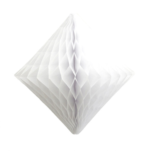 White tissue paper diamond decoration for kids birthday parties, weddings, dessert table displays and hen dos.