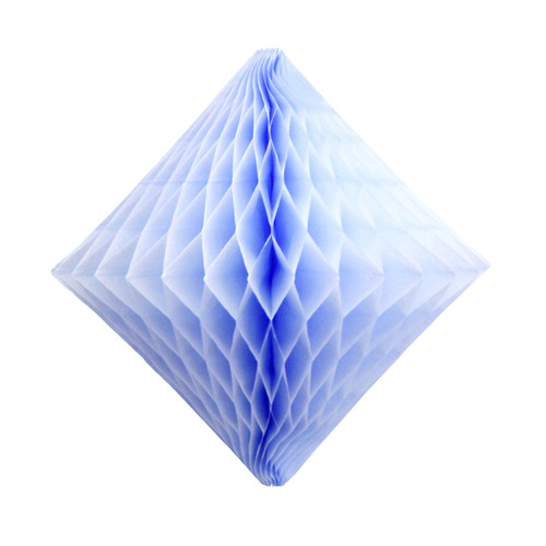 Light blue tissue paper diamond decoration for kids birthday parties, weddings, dessert table displays and hen dos.